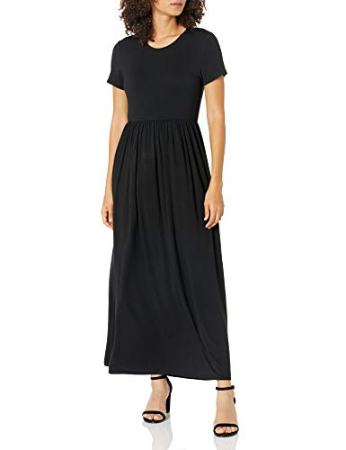 Amazon Essentials Women's Solid Short-Sleeve Waisted Maxi Dress, Black, M