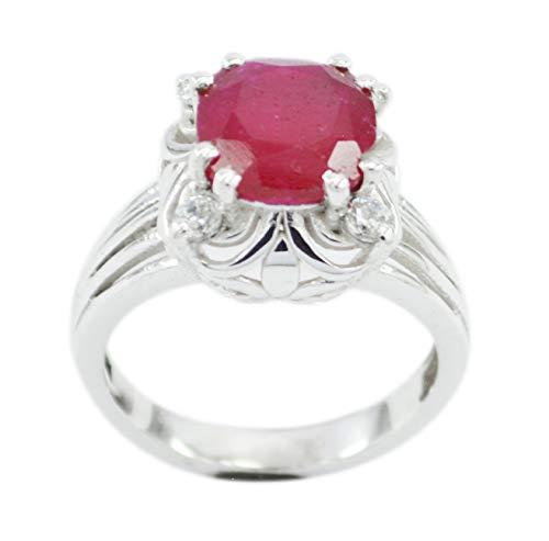 925er Sterlingsilber in Indien faszinierender natürlicher roter Ring, indischer Rubinroter Edelstein-Silberring