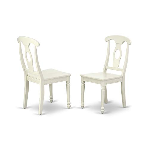 East West Furniture KEC-LWH-W Kenley Nappoleon-Styled Dining Chair with Plain Wood Seat in Linen White Finish (Set of 2)
