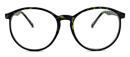 amashades Vintage Nerdies Classic Nerdbrille: große, fast runde Pantobrille filigrane Streberbrille Hornbrille clear lens (Dark Buffalo/Mod.15)
