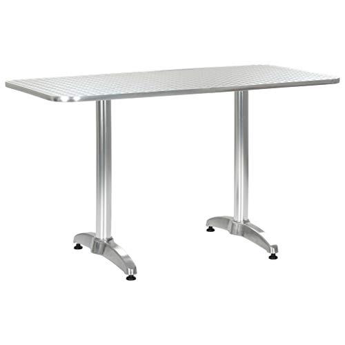 VidaXL Tuintafel, bistrotafel, balkontafel, aluminium tafel, bartafel, eettafel, tuinmeubelen, tafel, zilver, 120 x 60 x 70 cm, aluminium