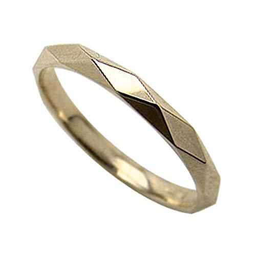 [ジュエリーアイ]Jewelry i ひし形カット シンプルリング ピンキーリング イエローゴールドK10 レディースリング 単品 結婚指輪 ブライダル ギフト 12.5号