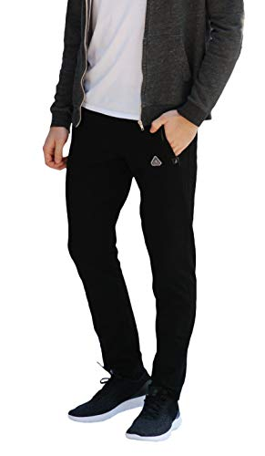 SCR SPORTSWEAR Men's Sweatpants with Pockets Tapered Slim Athletic Joggers Open Bottom Activewear Lounge Pants 36 Inseam (34W x 36L, Black-K536)
