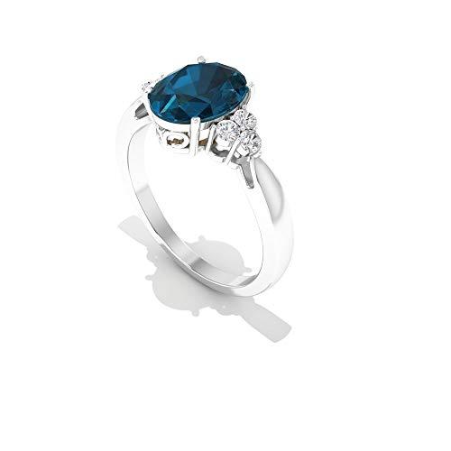 Anillo de compromiso con diamante suizo de 2,50 quilates con topacio azul, estilo vintage trilogy con certificado IGI de 14 quilates turquesa