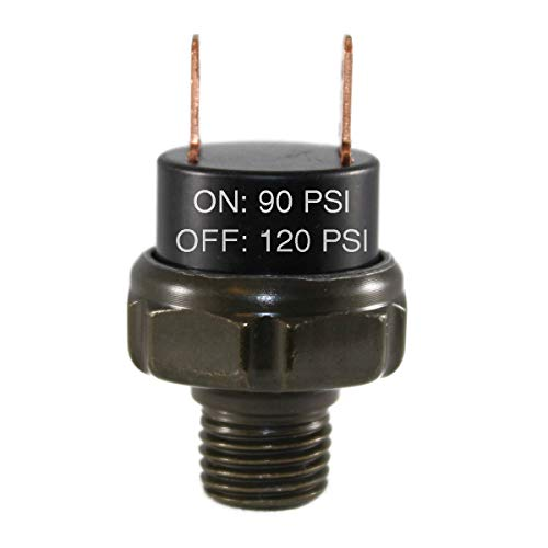 "CompStudio 90-120 PSI Air Pressure Switch Tank Mount Type Thread 1/4"" NPT 12V/24V for Train/Air Horn"
