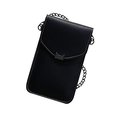 Universal Handyhülle Wasserdich Umhängetasche, 2 in 1 Handtasche Handyhülle Schutzhülle Handy Tasche PU Leder Touchscreen Funktion Leder Mobile Bag Protective Case Handy Tasche (Schwarz)