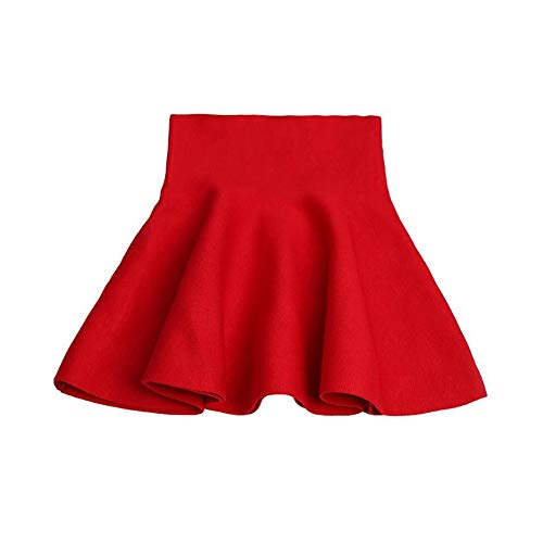 Mesinsefra Little Girl's High Waist Knitted Casual Uniform Skirt Red Tag 130cm-51(5-6Y)