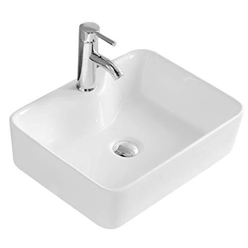 VBChome Waschbecken 49 x 38 Keramik Weiß FREISTEHENDES Waschtisch Handwaschbecken Aufsatz Waschschale BADEZIMMER WC