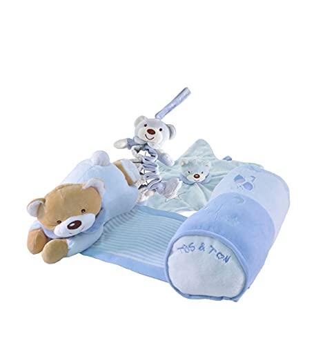 Tris & Ton Pack regalo recién nacido Osito siesta musical, peluche acordeón musical y doudou estrella cesta original niño niña (trisyton) (celeste)