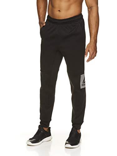 Reebok Herren Jogger Laufhose mit Reißverschlusstaschen – Athletic Workout Training & Gym Sweatpants, Herren, Schwarz Challenger Jogger, X-Large
