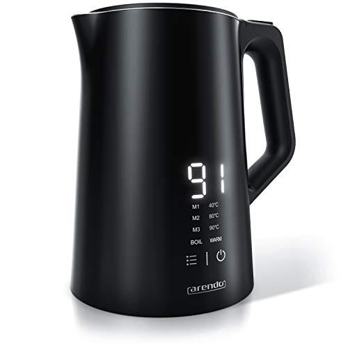 Arendo - Edelstahl Wasserkocher mit Temperatureinstellung 40-100 Grad - Display im Gehäuse - Doppelwand Design - Modell AESTHET - 1,5 Liter - Teekocher mit Temperaturanzeige - GS - BPA frei