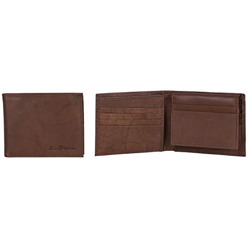 Ben Sherman Men's Leather Wallet with Flip Up ID Window (RFID), Brown Marble Passcase, One Size