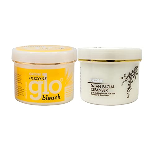 OZONE D Tan Facial Cleanser 250G with Instant Glo Bleach 250G for Glowing & Brightening Skin