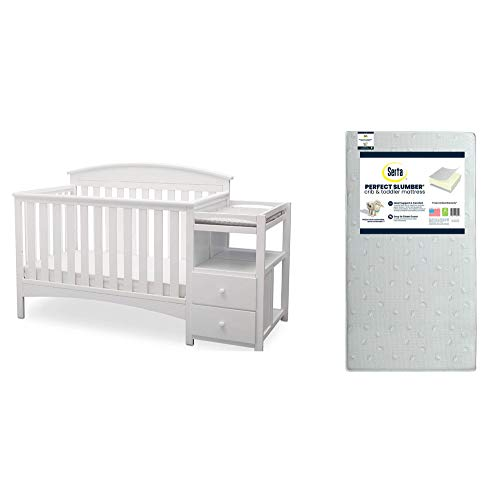 Delta Children Abby Convertible Crib 'N' Changer, Bianca + Serta Perfect Slumber Dual Sided Recycled Fiber Core Crib and Toddler Mattress (Bundle)