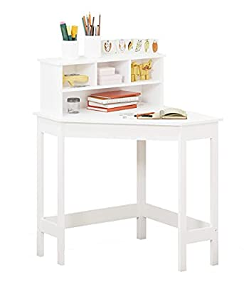 UTEX Corner Desk with Storage and Hutch for Small Space, Kids Corner Desk with Reversible Hutch for Girls Boys, Study Computer Desk Workstation & Writing Table for Home School Use, White from UTEX