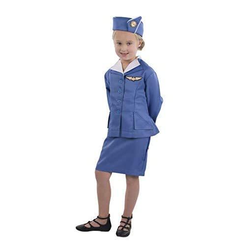 Dress Up America Disfraz de Asistente de Vuelo de azafata Retro para nias Grande Accesorios, Azul, Talla 12-14 aos (Cintura: 86-96, Altura: 127-145cm) para Mujer