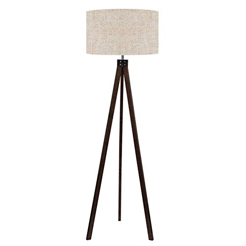 LEPOWER Wood Tripod Floor Lamp, Mid Century Standing Reading Light for Living Room, Bedroom, Study Room and Office, Modern Design, Flaxen Lamp Shade with E26 Lamp Base (Walnut)