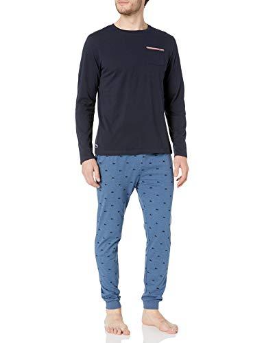Lacoste Herren Mens Sleepwear Long Sleeve Crew Neck Top and Bottom Pajama Gift Pyjama Set, Marineblau/Fähnchen, Large