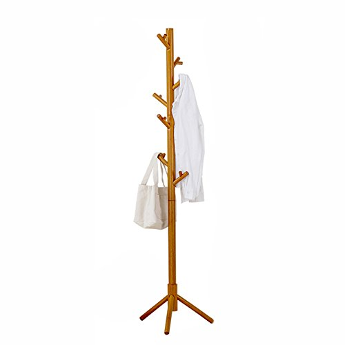 ZfgG Porte-Manteau Debout en Bois Massif Stand en Forme d'arbre créatif Chambre vêtements Cintre Chapeau avec 8 Crochets, Couleur du Bois (Couleur : Couleur du Bois)