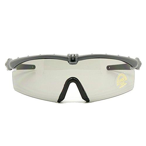 EnzoDate Polarized Armee Sonnenbrille militärischer Brille Men Rahmen 3/4 Linse Kampf Krieg Spiel eyeshields (grau, 3 Objektiv)