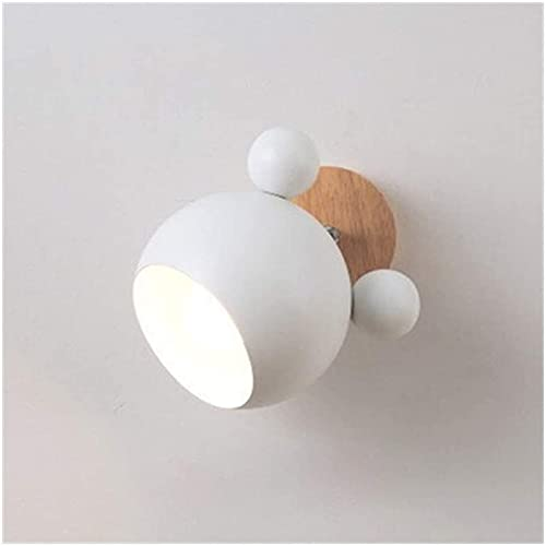 Novedad Lámpara De Pared LED Creativa Con Pantalla De Hierro Accesorio De Iluminación De Madera Mesita De Noche Habitación De Niños Pasillo Luminaria De Luz De Pared (Talla : White)