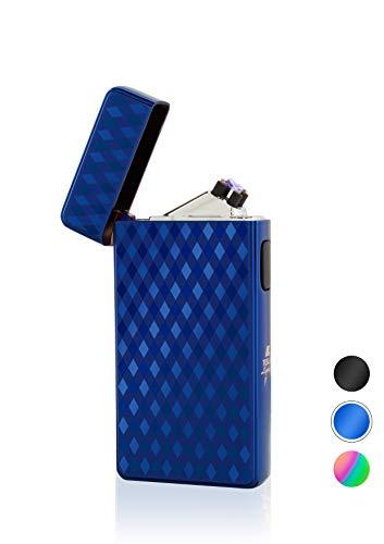 TESLA Lighter T13 Special Edition 3D Effekt Kacheln Blau Lichtbogen Feuerzeug USB Aufladbar Elektro Sturmfest Plasma Doppel-Lichtbogen mit Akku