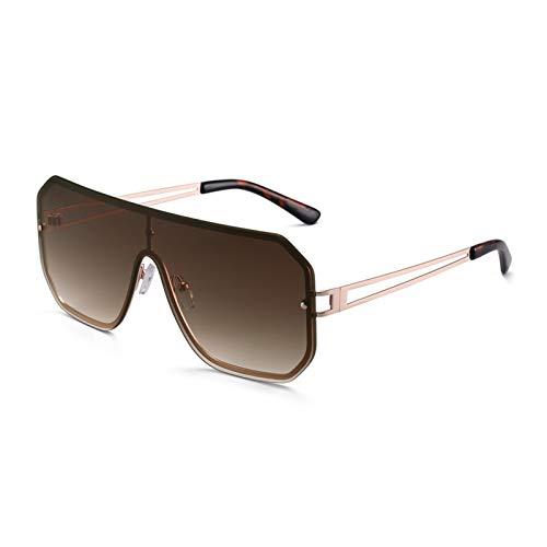 YWSZY Gafas de Sol, Fashion Square Gafas De Sol Hombres Y Mujeres Sin Rimo Metal Marco Glasses UV400 (Lenses Color : Brown)