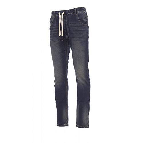 noTrash2003 Herren Sweathose Jogginghose Stretch Hose elastisch in Jeans-Optik Denim versch. Ausführungen (L, Tiefblau)