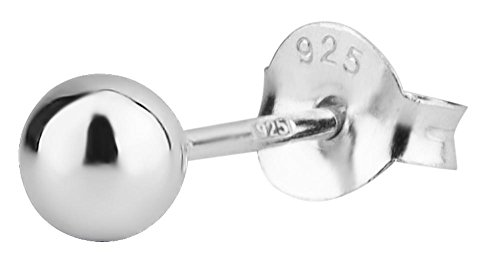 Cartilage Earring Stud: .925 Sterling Silver Tiny 4 mm Ball Cartilage Earring (Sold Individually)