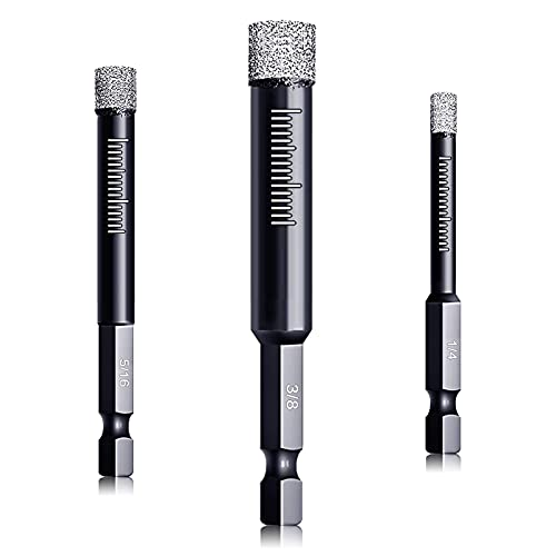 """DKIBBITH Dry Diamond Drill Bits Set 3 Packs for Granite Porcelain Tile Ceramic Marble Size 1/4"""" (6mm), 5/16"""" (8mm), 3/8"""" (10mm), with Quick Change 1/4"""" Hex Shank and Storage Cases"""