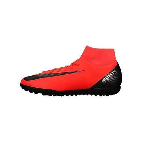 Nike Unisex-Kinder Jr Superfly 6 Club Cr7 Tf Futsalschuhe, Mehrfarbig (Bright Crimson/Black/Chrome 600), 36 EU