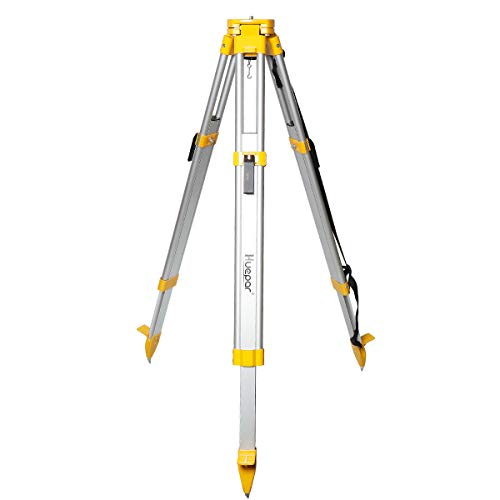 """Huepar Aluminum Flat Head Heavy Duty Tripod 1.65m / 65"""" with 5/8""""-11 Male Thread, Contractor Tripod with Quick Clamp and Carrying Strap for Total Station, Automatic Optical Level, Rotary Laser - M3Y"""