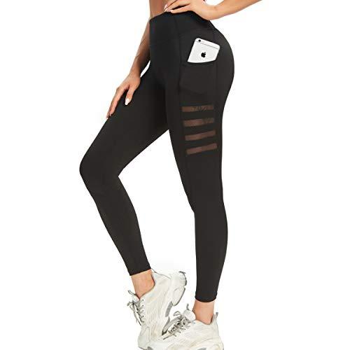 AINIC Hohe Taille Damen Sport Leggings mit Taschen,Blickdicht Damen Sporthose Sportleggins Yogahose Sport Tights,High Waist Damen Fitnesshose Training Laufhose für Freizeit Fitness