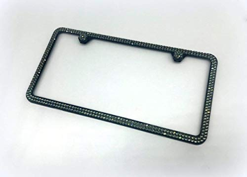 Bling 2 Row Black Metal License Plate Frame made with Black Diamond Swarovski Crystals - Car Jewelry -  RVMdesigns