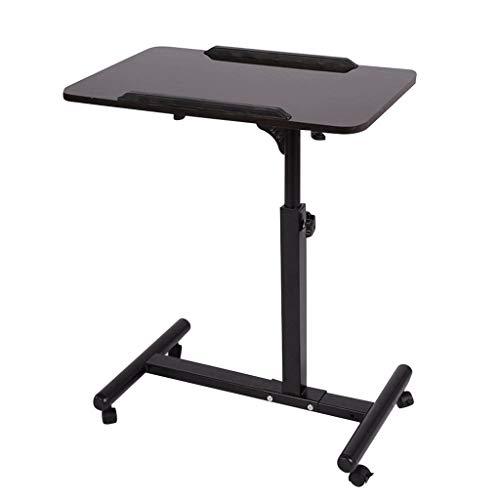 Qwork Overbed Table Laptop Desk Cart Hospital Bed Desk Swivel Table Mobile Height and Angel Adjustable 360° and 180° Tilt Spliting Laptop Table (Black Walnut)