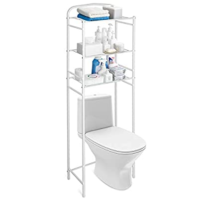 Amzdeal Toilet Bathroom Space Saver, 3 Tiers Shelf Over Toilet, Multi-Fuction Storage Unit Organizer, No Drilling, 49 x 28 x 160, White