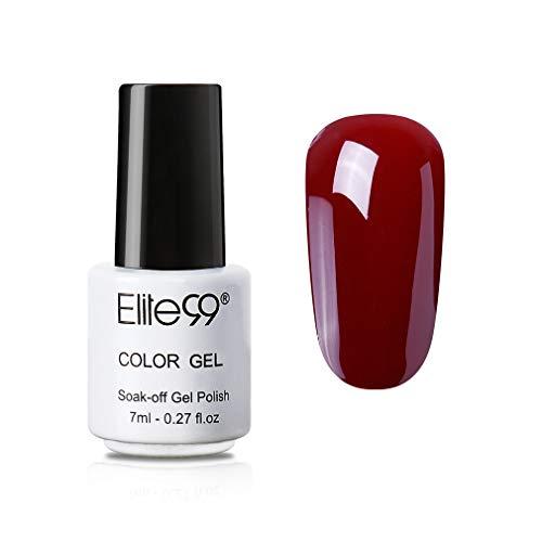 Elite99 Weinrot UV Nagellack, Rot Gellack UV Gel Farbgel, Nagelgel LED Soak Off Gel-Lack 7ML JH017