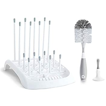 Munchkin Baby Bottle and Sippy Cup Cleaning Set Includes Countertop Drying Rack and Bristle Bottle Brush Grey