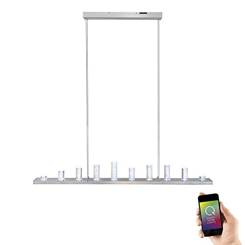 Paul Neuhaus 2067-55 Q-Skyline Pendelleuchte Smart-Home Alexa, RGBW Farbwechsel inkl. Fernbedienung dimmbar Edelstahl 120cm