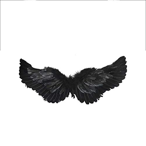 QMMD Simulation Angel and Devil Wings Decoration Cos Children's Back Decoration Toy, Adult Children Princess Christmas Fancy Dress Stage Performance,F/Black