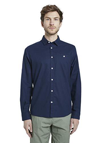 TOM TAILOR Herren Blusen, Shirts & Hemden Hemd mit geknöpfter Leistentasche Cosmos Blue,XL,10311,6000