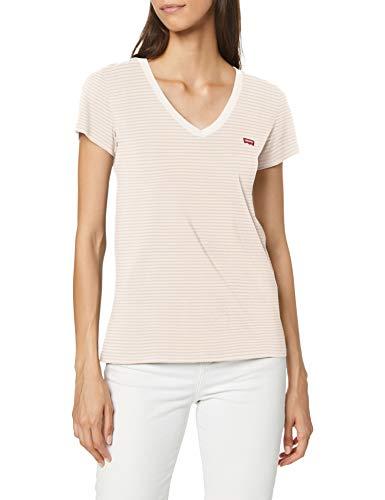 Levi's Vneck Camiseta, Annalise Stripe Sepia Rose, M para Mujer