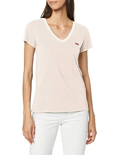 Levi\'s Damen Perfect Vneck T-Shirt, Annalise Stripe Sepia Rose, XS