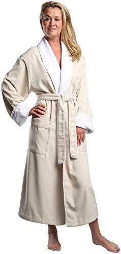 Plush Lined Microfiber Spa Robe - Unisex Luxury Hotel Bathrobe in Natural/Large By Monarch/Cypress