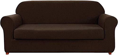 L.TSN Fundas de sofá de 2 Piezas con diseño geométrico, Tela elástica, sofá, sillón, Asiento, cojín para Sala de Estar (Chocolate, 1 Plaza/Silla)