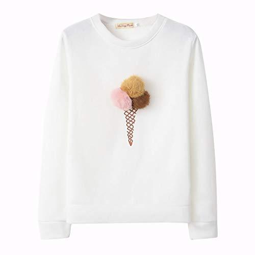 Whycat 3D Ice Cream Sweatshirt Pullover Girls, Women Pom Pom Scoop Winter Cute Funny Sweatshirt Casual School Jumper Sweatshirt Hoodie (Khaki, 8)
