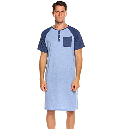 ADOMES Hombre Camisones Pijamas de Manga Corta Ropa de Dormir Ligera para el Hospital de Verano en casa M-XXXL
