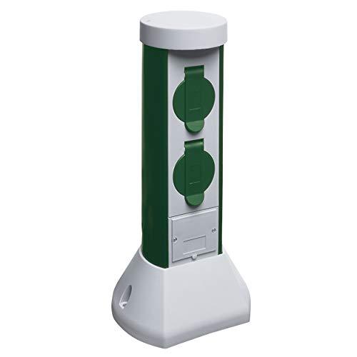 REV 0068200021 GreenCraft, Garten Steckdosen, H37cm, Kabel 2m, 2fach, IP44, 3500W, grün