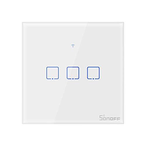 Sonoff T1 Smart Touch Switch, Wi-Fi RF Control Wall Light Switch 1 2 3 Gang 86 Tipo UK Pannello per Smart Home, bianco