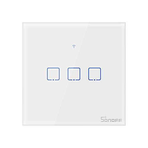 SONOFF T1EU3C Interruptor Mural para Control de Luces Inalámbrico por RF Wi-Fi Inteligente, Interruptor de Tipo 86 de 3 Canales para Soluciones de Automatización Domótica